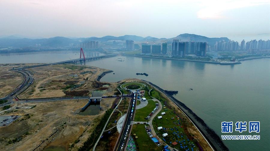 航拍我国首个大型离岸式人工岛:漳州双鱼岛迎露营大会